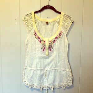 Free People embroidered  and lace shirt